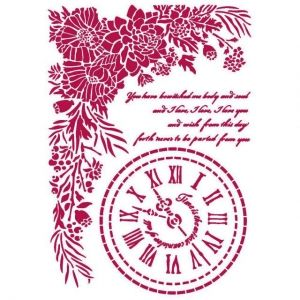 Sablon decorativ din plastic 21x29,7cm -  Romantic Journal clock KSG465