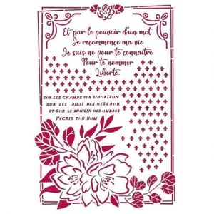Sablon decorativ din plastic 21x29,7cm - Romantic Journal flower with frame KSG457