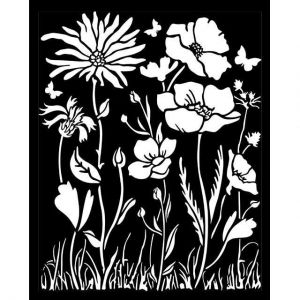 Sablon decorativ din plastic 20x25cm - Atelier poppy and flower KSTD072